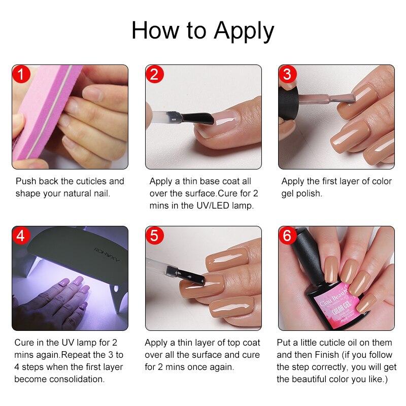 Clou Beaute 4pcs UV Nail Gel Lak Polish Red Wine Nude Pink Gel Nail Polish Neon Color UV Lacquer Soak Off Varnish UV Gel Polish in Nail Gel from Beauty Health