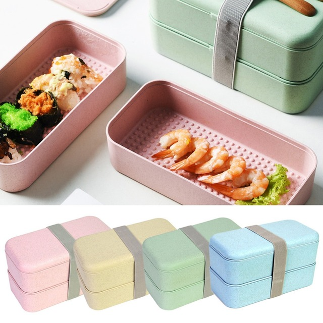 Japanese Style Kid Students Lunch Box Double Decked Food Fruit Storage  Container Portable Picnic Dinner