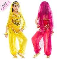 ベリーダンス衣装子供6ピース(トップ+パンツ+ウエストチェーン+ 2ブレスレット+ベール)ボリウッドインドの服インドの女の子ローズ/レッド/イエロー