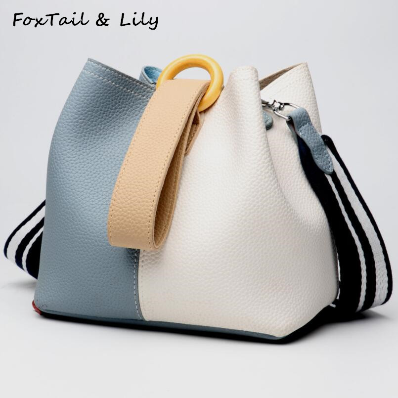 FoxTail & Lily Genuine Leather Bucket Handbag Women Casual Panelled Crossbody Bag Soft Cow Leather Small Shoulder Messenger Bags kajie brand women genuine leather bucket bag fashion handbag cow leather shoulder bags panelled simple messenger bag female