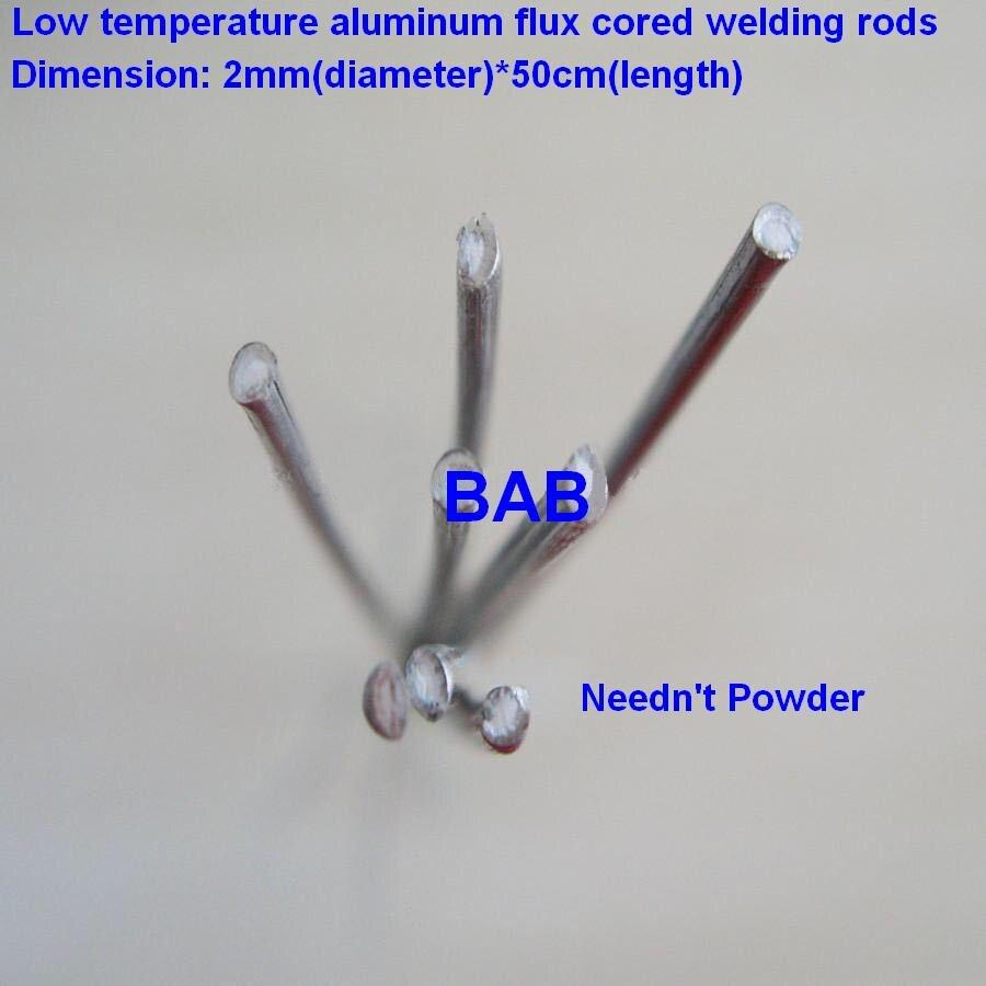 50 stücke 2mm * 50 cm niedrigen temperatur aluminium schweißen stange flux entkernt draht/niedrigen temperatur flux core aluminium elektrode (keine flux)