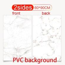 60X90cm PVCคู่การถ่ายภาพฉากหลังกันน้ำพรีเมี่ยมหินอ่อนพื้นหลังสำหรับPhotoอาหารเครื่องประดับรายการมินิ