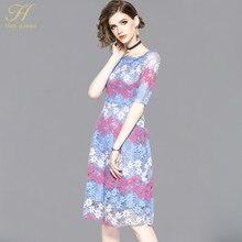 H Han reina otoño estilo vestido de encaje Slim Sexy ahuecar el trabajo de  negocios Vestidos Casual mujeres Runway A-line Vintag. 576c6c534872