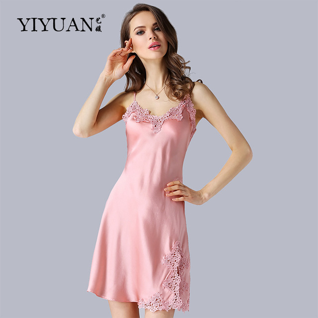 100% Natural Silk Nightdress Female Sexy V-Neck Embroidery Genuine Silk  Nightgowns Summer Sleeveless a9ce2f656