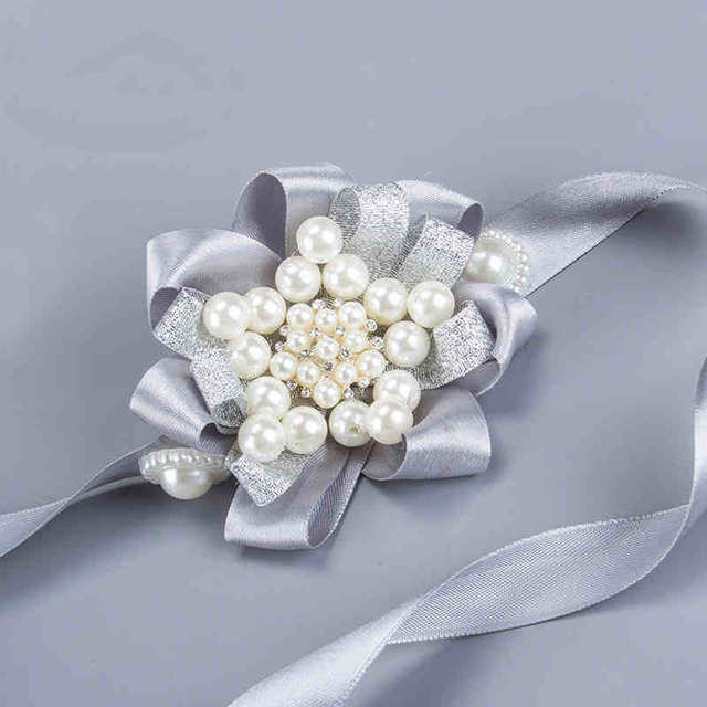 Bride Bridesmaid Wrist Corsage Wedding DIY Flowers Pearls Silk Bracelet Decor Women Wreath Accessories SH001