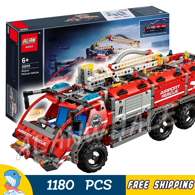 1180pcs 2in1 Techinic Airport Fire Rescue Vehicle Truck Collection 20055 DIY Model Building Blocks Boy Toys Compatible With lego цена