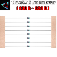 1LOT=100PCS Metal Film Axial Resistors 1% 1/8W 0.125W 1/8W=1/6W 430 470 510 560 620 resistance