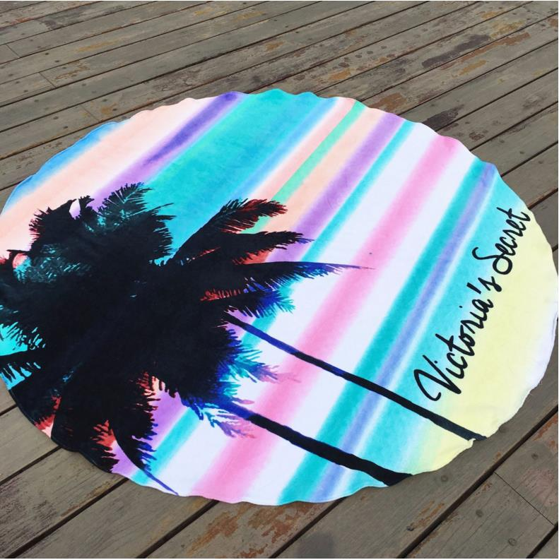 KALAMENG Round Beach Towel VS Secret Pink Towel Victoria Hawaii Wall Tapestry Desk Decoration Bedspread Blanket Toalla De Playa ...