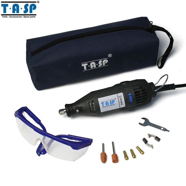 TASP 130w Mini Drill Electric Rotary Tool with Safety Glasses and Accessories