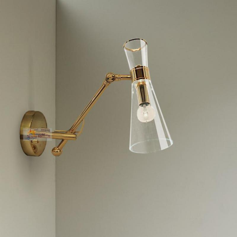 Led Active Joint Glass Mirror Light Nordic Swing Arm Wall Lamp Glass Cover Modern Indoor Wall