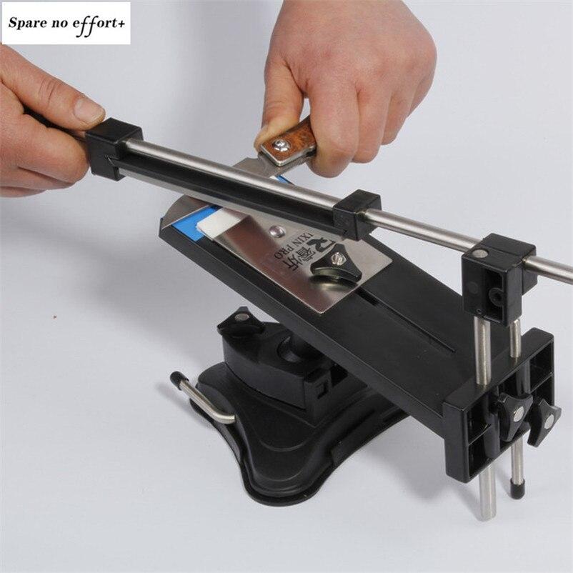 Ensemble d'affûteuse de couteau professionnel en acier de cuisine en fer affûteuse de couteau système d'affûtage à Angle fixe avec 4 pierres à aiguiser
