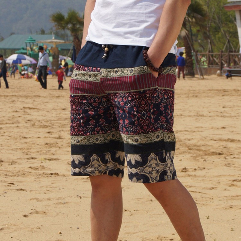 2020 Summer New Men's Bermuda Shorts Loose Straight Floral Hawaiian Casual Linen Short Pants Male Brand