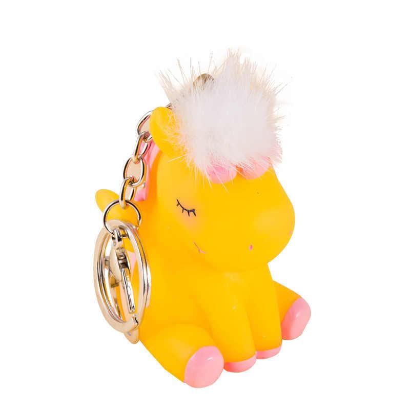 Monstro dos desenhos animados Bonito Unicórnio Cavalo Chaveiro Chaveiro Fluffy Mink Bola Pom Pom Fofo Chaveiro Bugiganga Chave Anel Saco pingente