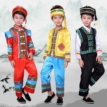 Childrens Costume, Dai nationality, Yunnan minority, Zhuang Miao Chinese minority dance costumes for boys Halloween
