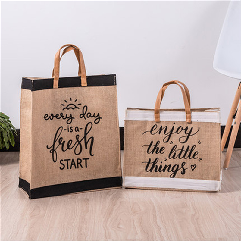 High Quality Vintage Square Gunny Bag Jute Handbag Storage Shopping Carrier Hadbag Shoulder Tote Bag