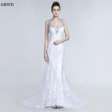 2019 Sexy Sweetheart Mermaid Wedding Dresses Applique Beaded Bridal Gown  Shoulder Strap backless Wedding Dress Vestido 52e86bb29805