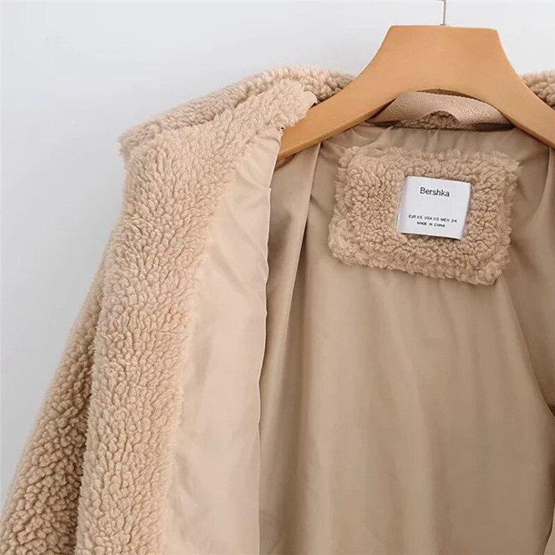 Femmes 40 2018 Peluche Bande En Vestes Épissage Women Veste Vêtements Hiver Épais Fermeture Cardigan Éclair Dropshipping Chaud vent Manteau Coat Coupe vn0w8mON