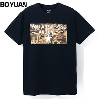 BOYUAN Tops Tees Men T Shirt Men Clothing O Neck Short Sleeve Cotton Slim Fittness T