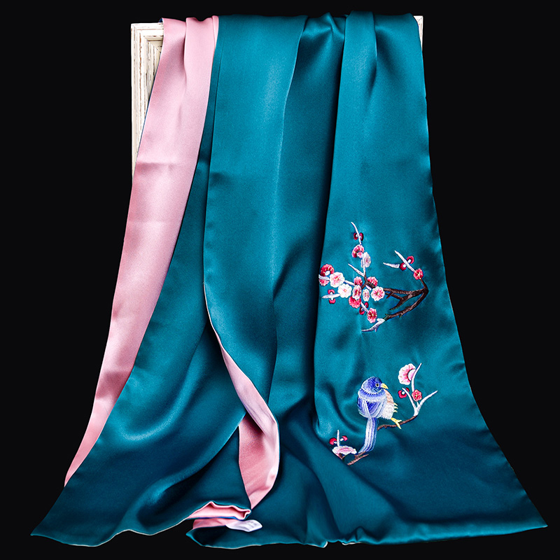 100% Pure Silk Scarf Luxury 2019 Hangzhou Silk Shawls and Wraps for Women Handmade Embroidery Natural 16 m/m Real Silk Scarves - 6