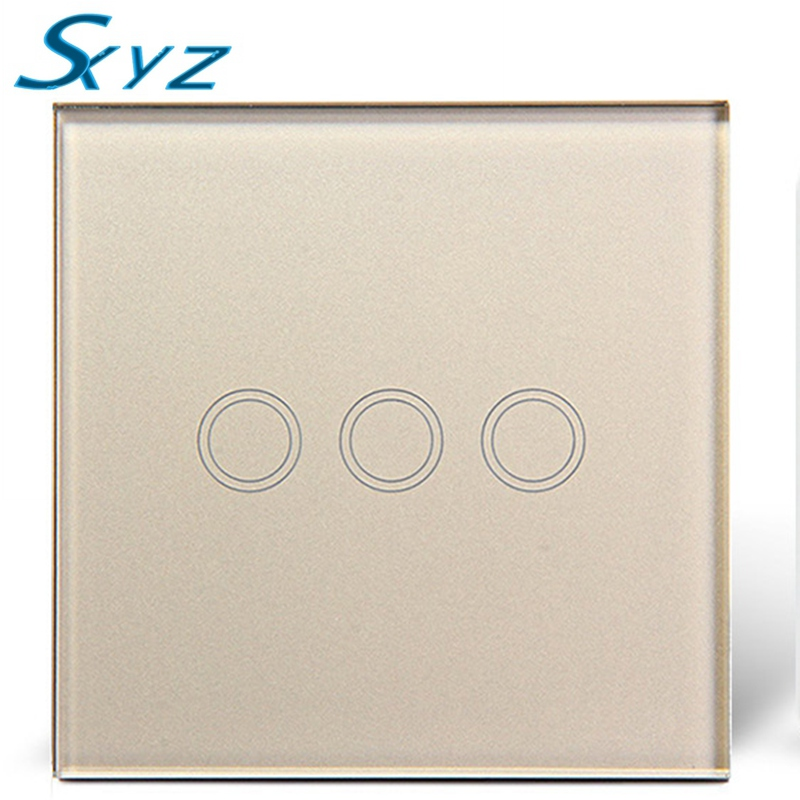 3 Gang  EU/UK Touch Switch, Crystal Glass Switch Panel,Single FireWire Touch Screen Switch Smart home Remote Control Light smart home uk 1 gang 1 way crystal glass panel smart remote switch 220v touch screen light switch remote switch with controller