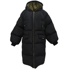 Clearance Couple Cotton Padded Parkas Thickening Bread Jacket Men and Women Long Black Loose Plus Size Hooded Warm Winter Coat