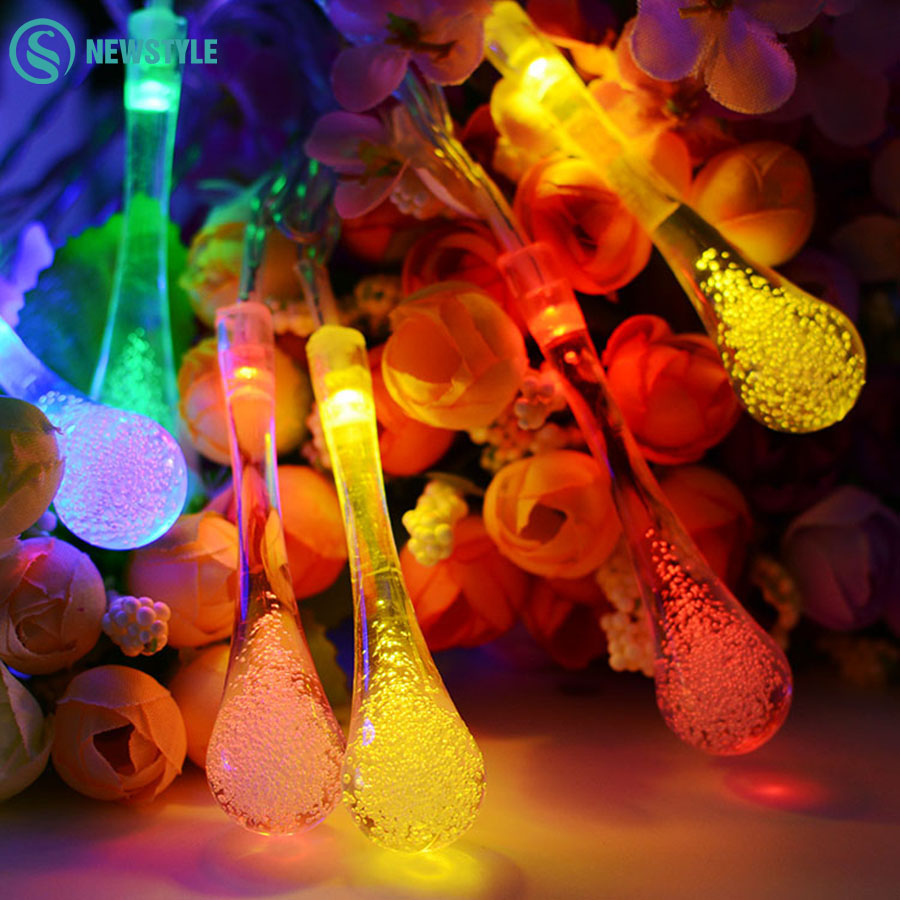 LED Bulb Solar String Lights 6M 30LED Water Drop Fairy LED Solar Lamps Outdoor String Lighting For Christmas Garland Decoration