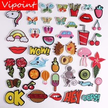 VIPOINT embroidery wow foods patches buttlefly lip flower fish badges applique for clothing YX-78