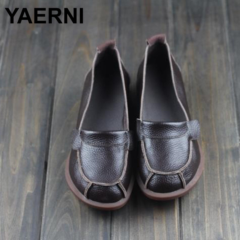 YAERNI Spring Shoes Women Leather Flat Shoes Genuine Leather Slip on Loafers Ladies Moccasins 2016 Fashion Footwear 2017 spring summer women flat shoes woman slip on loafers women s fashion leather shoes moccasins female footwear plus size 41