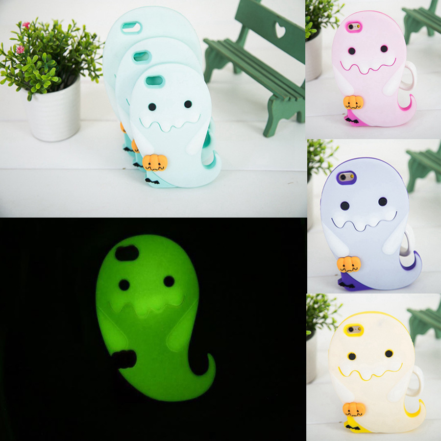 newest 425e2 3e36f US $5.89 |New 3D Cartoon Lovely Luminous Ghost Phone Case For iphone 4 4S  4G 5 5S 5G Protective Soft Silicone Rubber Back Covers SJK 12 on ...
