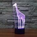 Criativo Giraffe 3D Ilusão LED Noite Luzes Coloridas Lâmpada Presente Candeeiro de Mesa de Acrílico Para A Decoração Iluminações De Natal IY803329