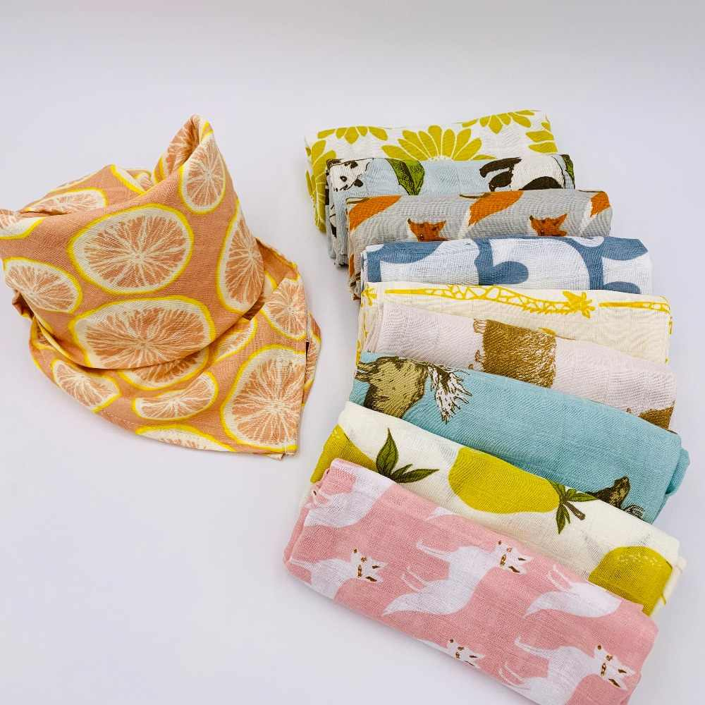 100% Organic Cotton Baby Blanket Muslin Cotton Bathing Towel Multifunction Baby Nursing Cover Bedding Wrap Bundle of Burp Cloth