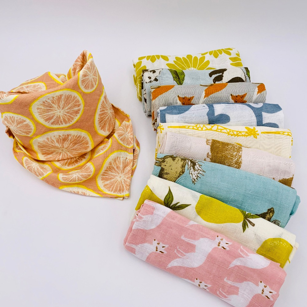 100% Organic Cotton Baby Blanket 60*60 Muslin Bathing Towel Multifunction Baby Nursing Cover Bedding Wrap Bundle Of Burp Cloth