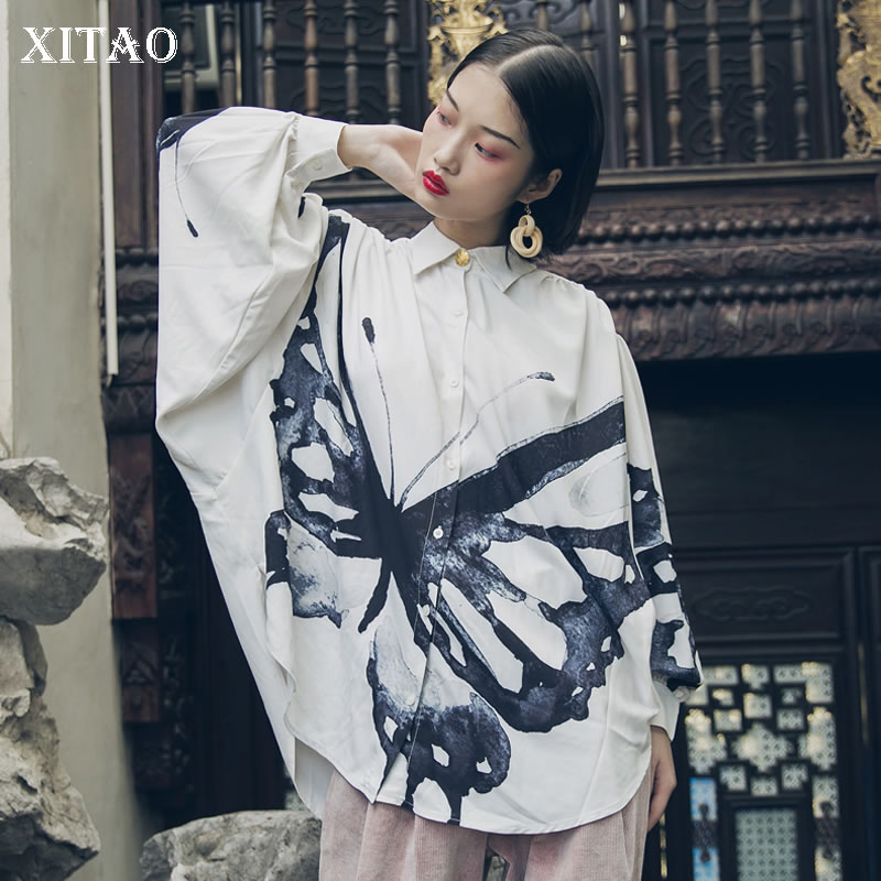 XITAO 2019 Spring Ink and The Butterfly Turn down Collar Full Sleeve Shirt Female Loose