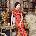 Nueva llegada rojo tendencia nacional chino de satén cheongsam dress qipao largo de la vendimia de gran tamaño sml xl xxl xxxl