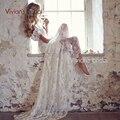 Вивиан Свадебное Платье невесты Русалка V Шеи Кружева Свадебное Платье Аппликации Спинки Длиной до пола Sweep Поезд WB039