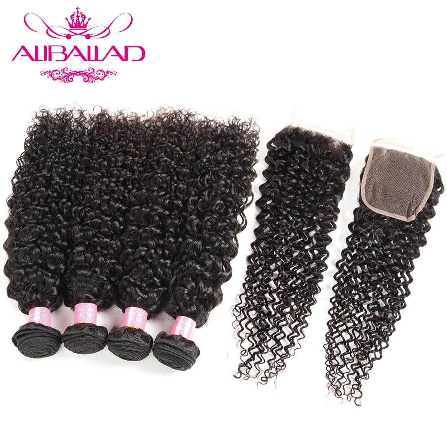 Aliballad Malaysian Kinky Curly Hair 4 Bundles With Closure 4x4 Inch Non Remy Human Hair Extensions Curly Bundles With Closure