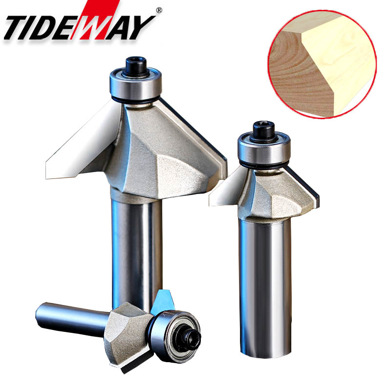 Tideway 45 Deg Woodworking Router Bit with Bearing Chamfering CNC Tool 1/4 1/2 Inch Shank Carbide Tungsten Steel Milling Cutter