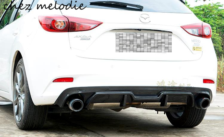 Top quality real carbon fiber Car dual outlet Rear bumper diffuser For new 2017 Mazda 3 AXELA hatchback, sticking-on type