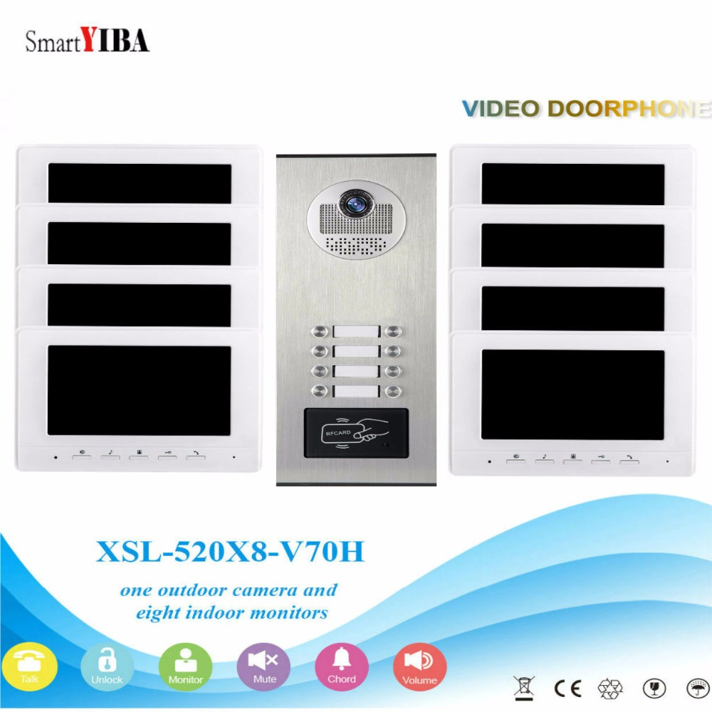 SmartYIBA 7inch Apartment Building Video Intercom Kits 2 To 12 Units Household For Option RFID Access Doorbell Door Phone Kit smartyiba wired 7inch monitor video intercom door phone doorbell system outdoor rfid access camera intercom for 5 apartment