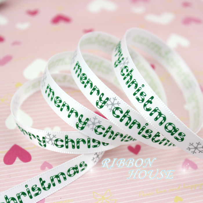 Мм (5 ярдов/партия) 3/8 »10 мм белый печатных grosgrain ленты Merry Рождество атласные ленты оптовая продажа