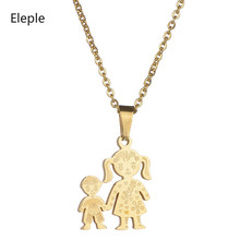 Eleple Stainless Steel Pendant Necklace Mother Girl Boy Love Necklaces for Women 4 Styles Simple Family Series Jewelry SLTP 3-1