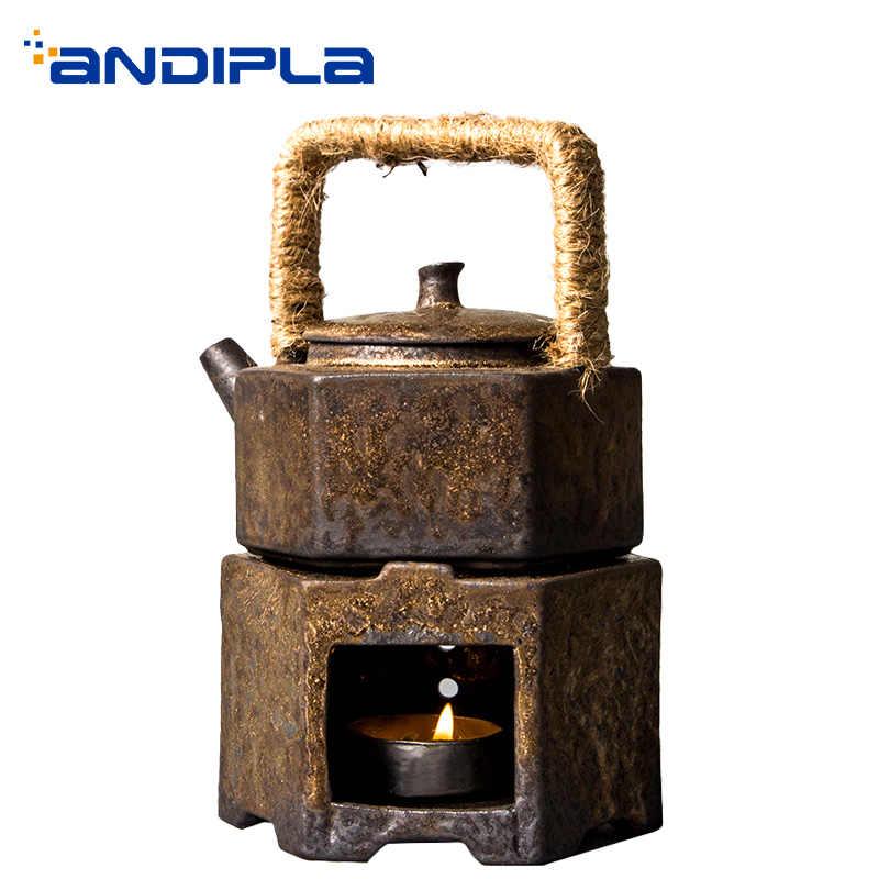 200ml vintage bule chaleira de água café pote de leite artesanal cerâmica grossa aquecedor de cerâmica fogão vela teaware drinkware