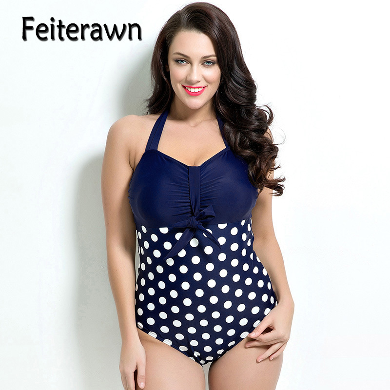 d77622dd71f31 Feiterawn Polka Pot Plus Size Swimwear For Women Halter One Piece Swimsuit  Beach Bathing Suit Maillot De Bain Femme JR1683-in Body Suits from Sports  ...