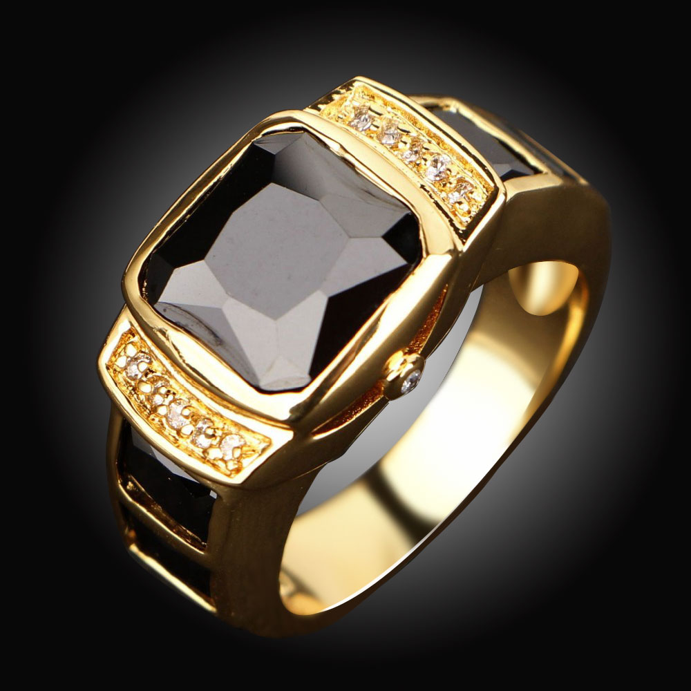 Wholesale Fashion Jewelry New Male Classic Black Stone Men Rings Yellow Gold