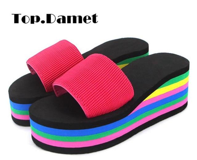 f1763383238 Damet Women Fashion Platform Slippers Wedges Shoes Rainbow Colorful Summer Flip  Flops Heels Sweets Shoe Plus Size