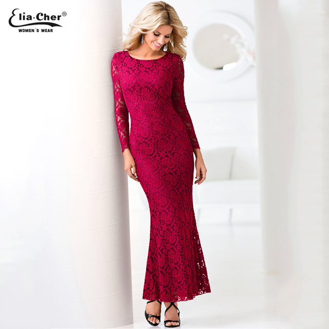 acb- Lace Elegant Party Dresses Long Sleeve Sexy & Backless