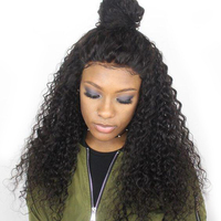Sapphire Kinky Curly Lace Front Human Hair Wigs For Women Bleached Knots Lace Wig Frontal Pre Plucked 4*4 Lace Frontal Wigs