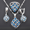 FAHOYO Newst Blue Zirconia Women's 925 Sterling Silver Jewelry Sets Earrings/Pendant/Necklace/Rings Free Shipping QZ065