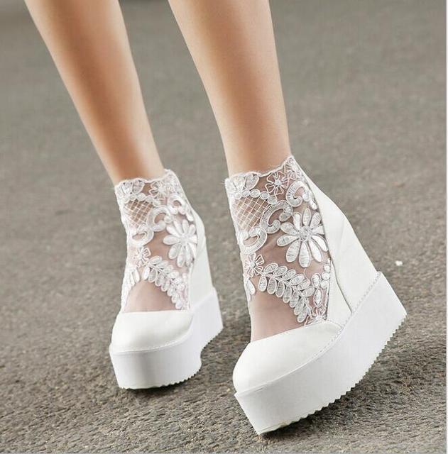 Mode Susse Spitze Romische Schuhe Frauen Keilabsatz Weiss Plateau