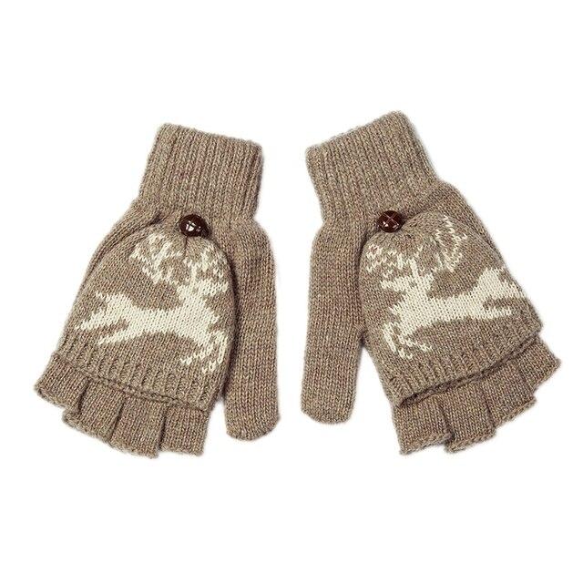 Fashion Winter Women Clamshell Acrylic Fingerless Gloves Flip Design ...